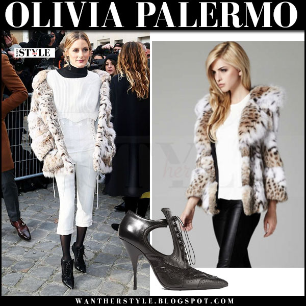 Olivia Palermo in cream leopard print mink lilly e violetta lynx fur coat, white dior sweater, white cropped dior pants and black booties givenchy what she wore paris