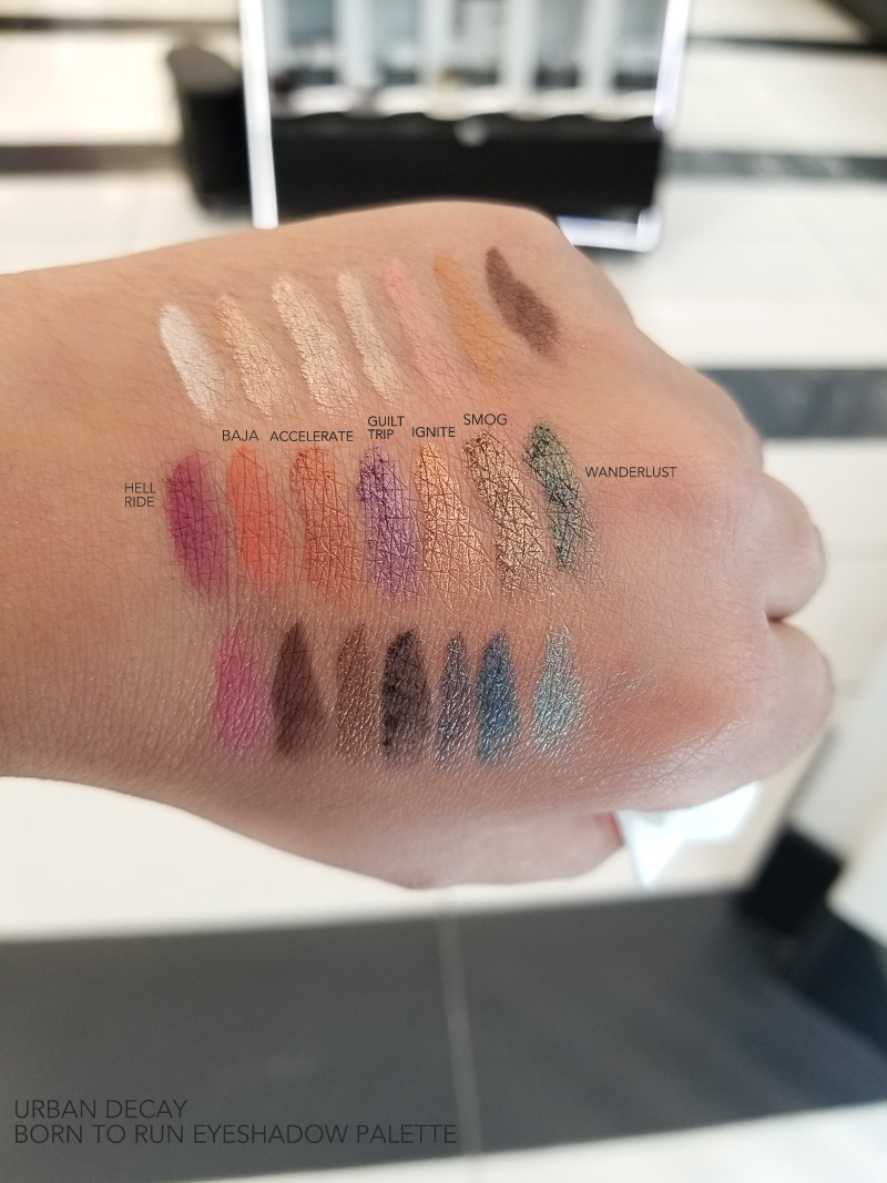 Urban Decay Born To Run Eyeshadow Palette - Swatches  Hell Ride - Baja - Accelerate - Guilt Trip - Ignite - Smog - Wanderlust