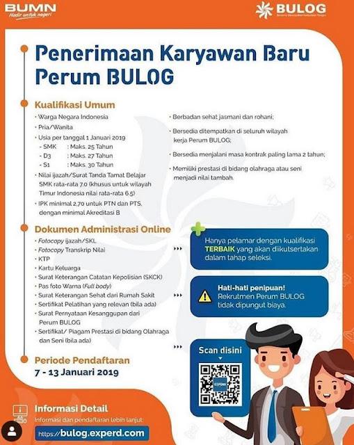 Penerimaan Karyawan Baru Perum Bulog (Registrasi  7 - 13 Januari 2019)