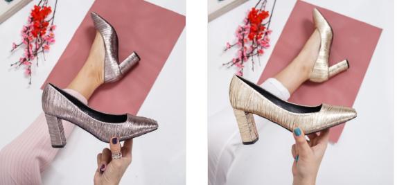 Pantofi aurii, argintii cu toc gros casual-eleganti moderni  2019
