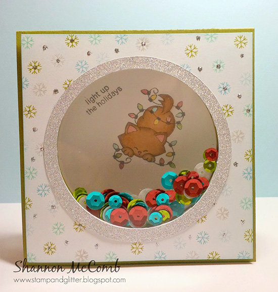 Kitty Christmas card by Lynn | Newton's Holiday Mischief stamp set by Newton's Nook Designs