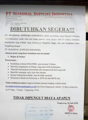 Loker PT Seasonal Supplies Indonesia
