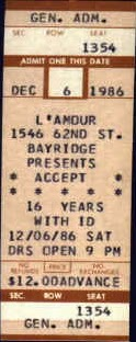 L'amour's of Brooklyn ticket for ACCEPT
