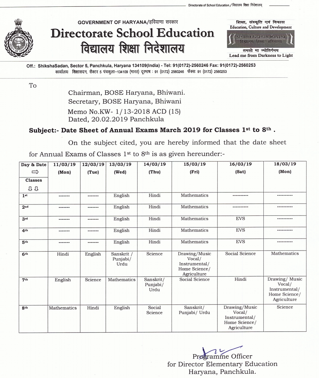 Monthly test, Half yearly test date sheet 1st to 8th & 9th to 12th