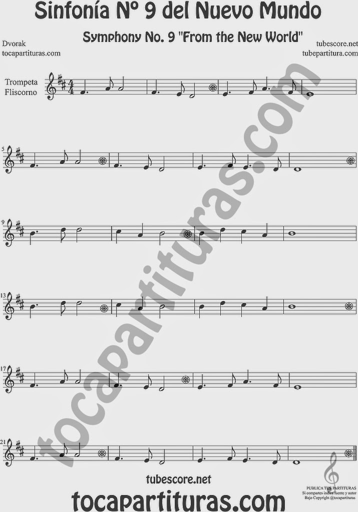 Sinfonía del Nuevo Mundo Nº 9 Partitura de Trompeta y Fliscorno Sheet Music for Trumpet and Flugelhorn Music Scores Symphony No. From the New World by Dvorak
