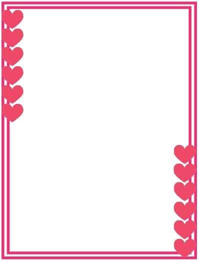 bordes de corazones rosados, orillas para decorar carta de amor, orillas de corazones
