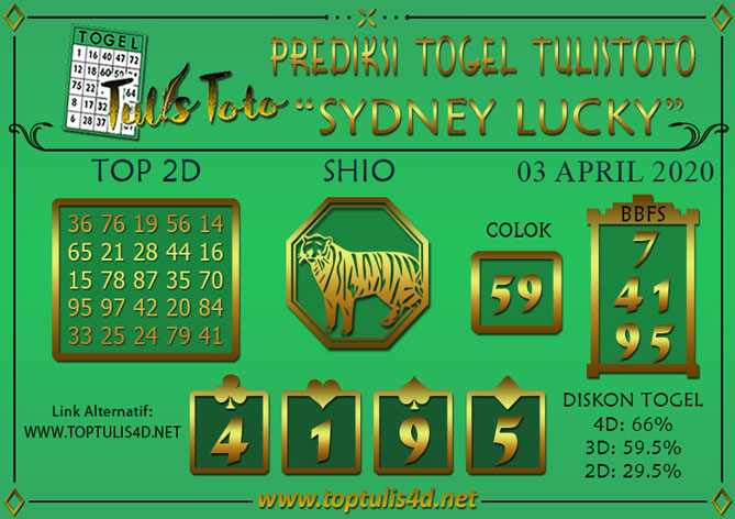 Prediksi Togel SYDNEY LUCKY TODAY TULISTOTO 03 APRIL 2020