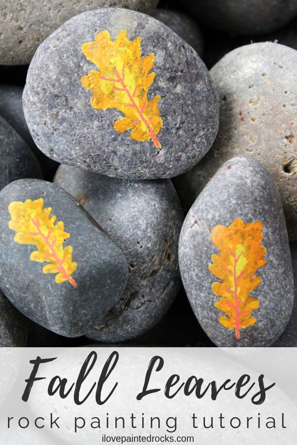 Learn how to paint leaves on rocks. The perfect rock paiting idea for fall! #ilovepaintedrocks #paintedrock #rockpainting #fallcraft #painting #rockart #posca #plaidcrafts