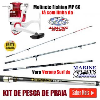 Foto de um kit de pesca de praia para pescadores iniciantes