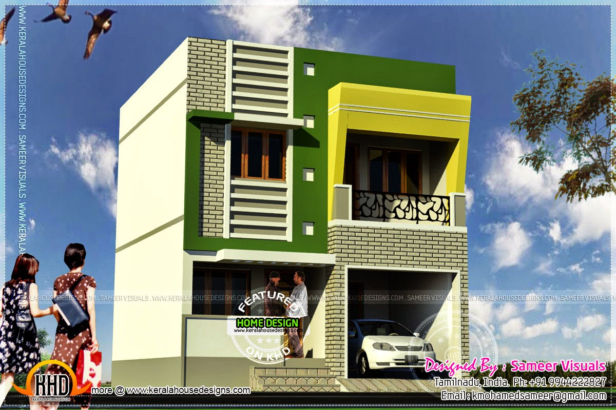 Two flat roof tamilnadu style house designs kerala home for Tamilnadu house designs photos