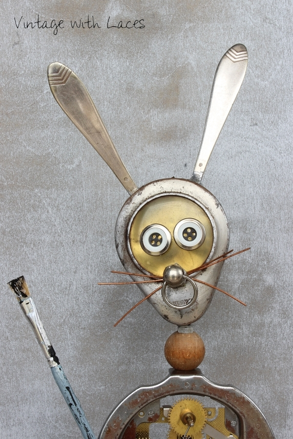 Found Object Bunny Sculpture - Steampunk-Bunny by Vintage with Laces