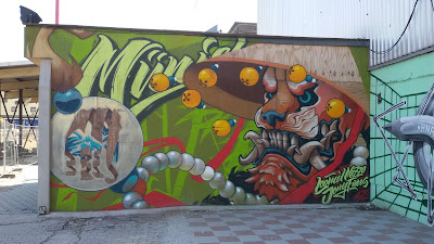 Kunterbuntes Graffiti - Tiger an der Kultfabrik am Münchner Ostbahnhof