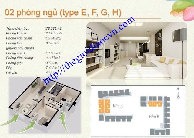Mẫu thiết kế 2 phòng ngủ của căn hộ The Eastern