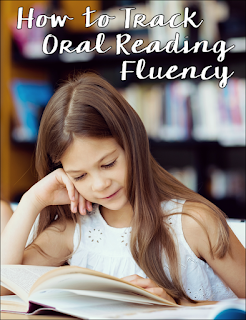How to graph and track oral reading fluency. Blog post includes a free packet of materials including a fluency chart and a line graph for tracking fluency data.