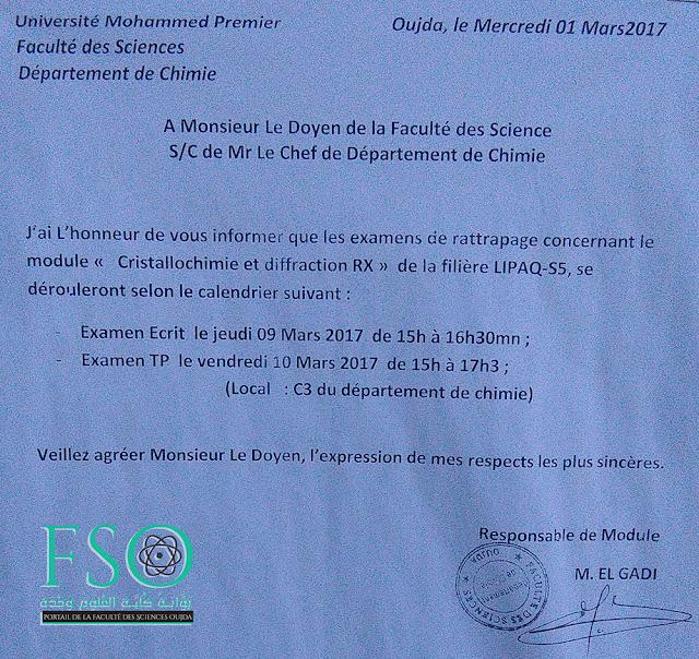 "LIPAQ S5 : Rattrapage des Examen ""Cristallochimie et diffraction RX"""