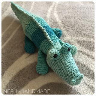 Nephi-Handmade: Krokodil Fiete gehäkelt, crochet crocodile