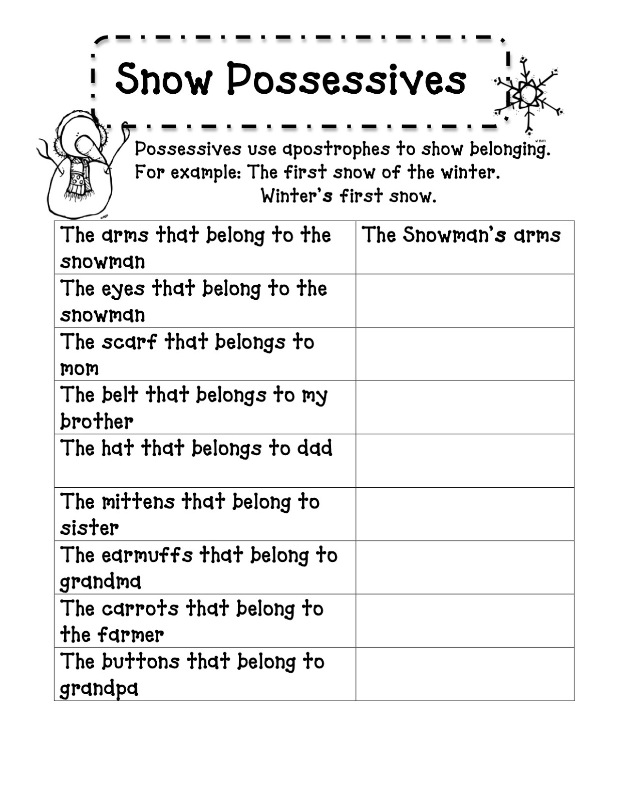 3 6 Free Resources Snow Possessives Poem And Activities
