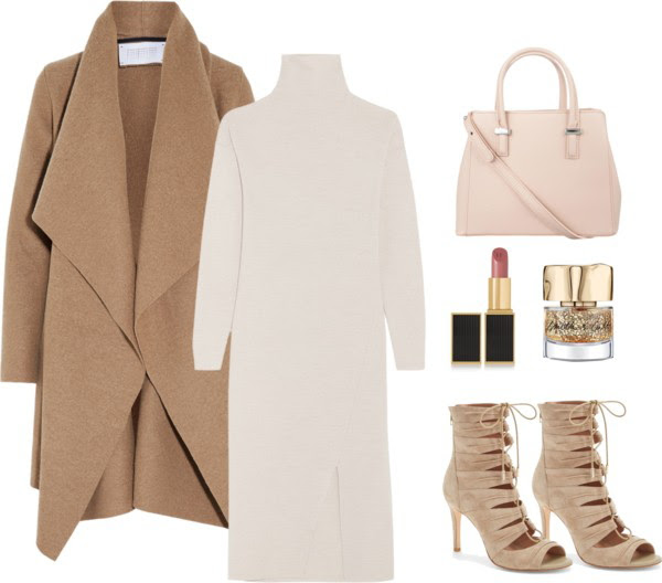 Nude Turtleneck Dress Outfit for Dressy Datenight