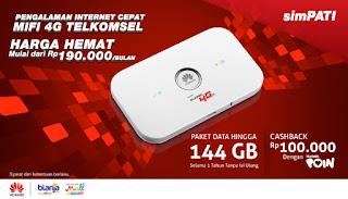 4G LTE Telkomsel, paket bundling telkomsel, mifi 4g telkomsel, Paket Bundling MIFI