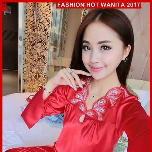 FWS081 Baju Tidur Wanita Sleepwear Import Red Satin BMG