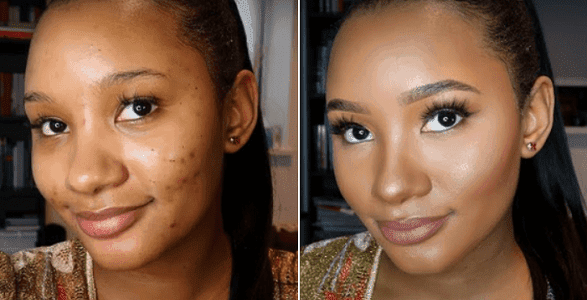 Before and After Make-up View of  Temi Otedola - TEELAMFORD.COM