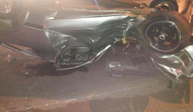 Após suposto Racha, carro capota e deixa dois feridos em Apucarana