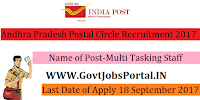 Andhra Pradesh Postal Circle Recruitment 2017– 39 Multi Tasking Staff