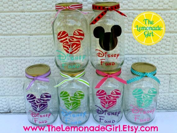 A Collection Of Great Ideas And Gifts Disney Fund Coin Money Jar Eco Friendly Reusable Mason Jar Personalized Disney