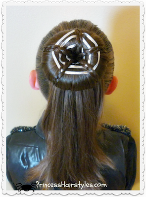 Halloween Hair, spiderweb bun tutorial. #halloween #spiderweb
