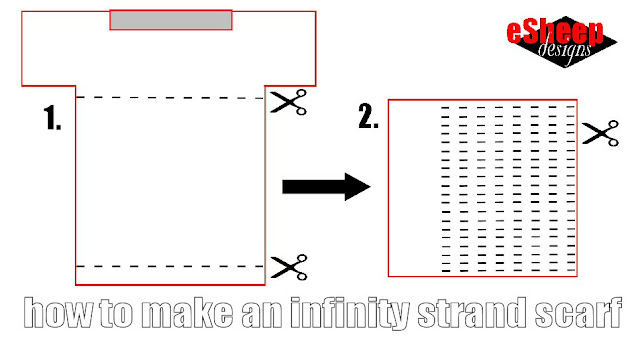 How to make an infinity strand scarf from a t-shirt by eSheep Designs