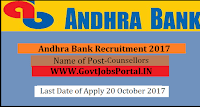 Andhra Bank Recruitment 2017– Counsellors