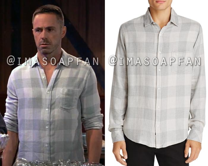 Julian Jerome, William deVry, Grey Buffalo Plaid Shirt, Rails, General Hospital, GH