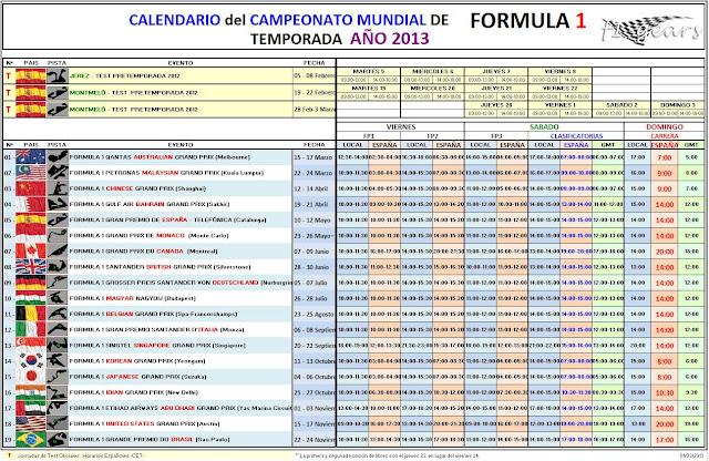 CALENDARIO DE FORMULA 1 - 2013