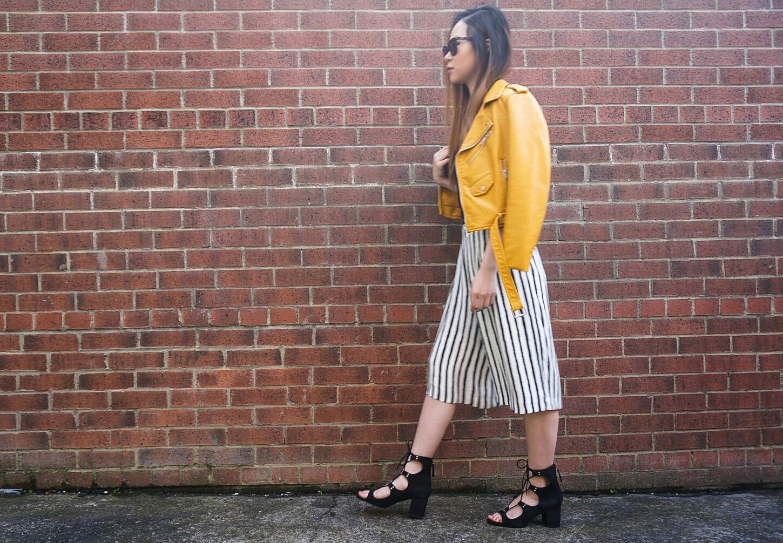 Leather jacket yellow stripe - Don T Forget To Follow Me On Bloglovin Twitter Pinterest Instagram