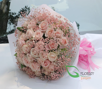 Pink rose bouquet Saigon