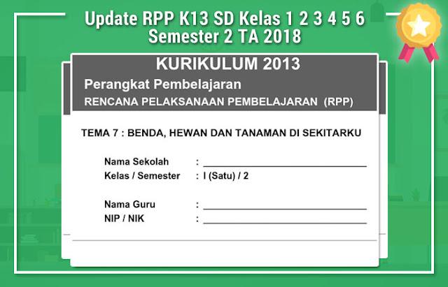 Update RPP K13 SD Kelas 1 2 3 4 5 6 Semester 2 TA 2018