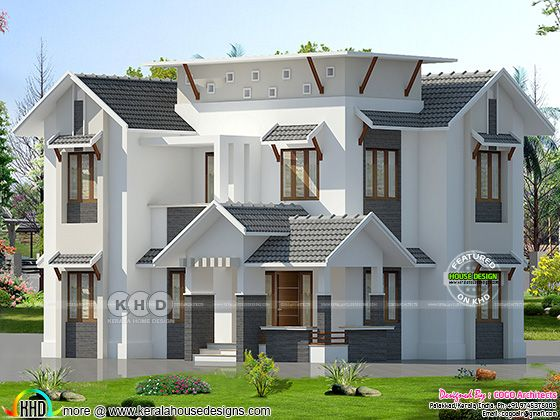 2000 square feet 5 bedroom mixed roof house plan