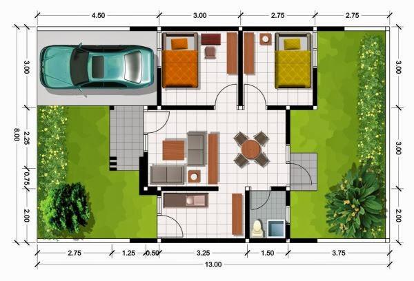 Denah gambar rumah minimali Bukuran 7x15