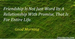 Good Morning Quotes For Best Friend:friendship is not word its a relationship with promise, that is for entire life.