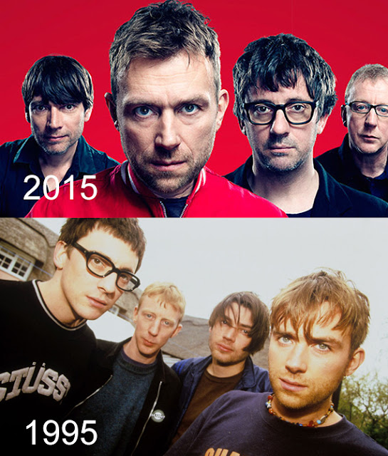 blur 10 year challenge, damon albarn 10 year challenge, blur 20 years, blur 1995, blur 2015 photo