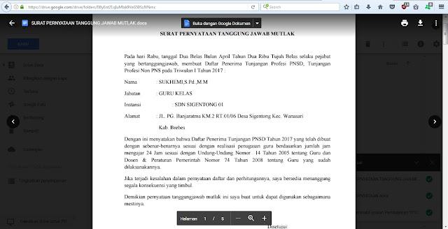 Berkas Persyaratan Pencairan Tunjangan Profesi Guru TPG Triwulan 1 Tahun 2017