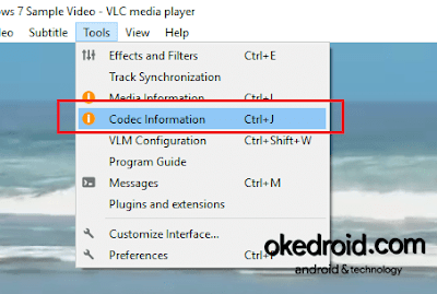 Tools > Codec Information VLC Media Player