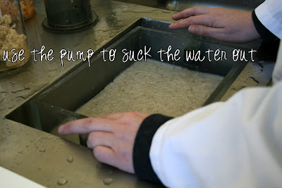 Paper making - suck the water out with a pump