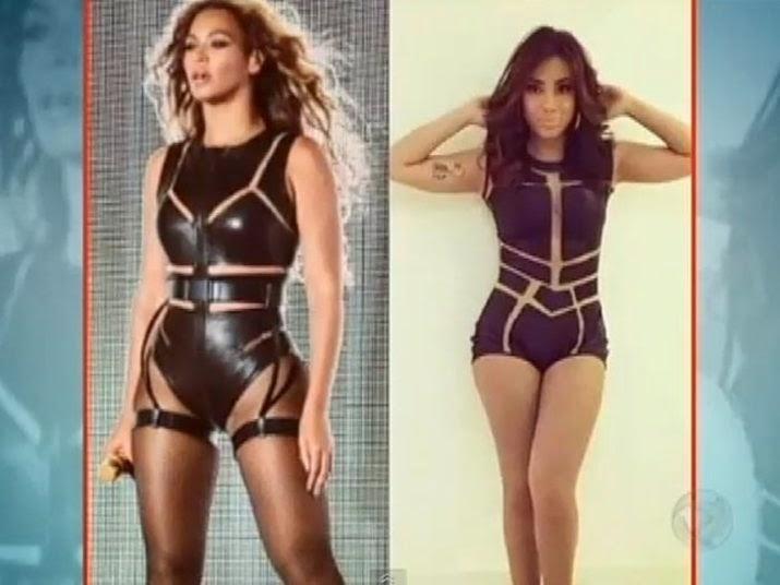 A cantora Beyonce e funkeira Anitta looks parecidos
