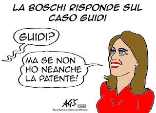 Boschi, Guidi, dimissioni, vignetta, satira