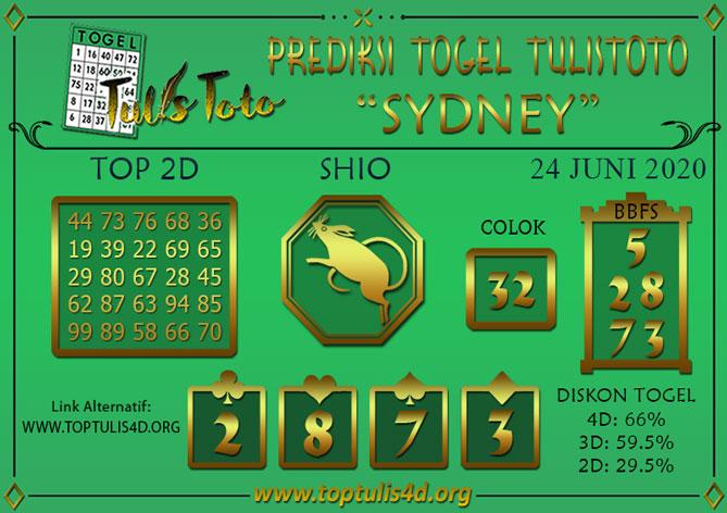 Prediksi Togel SYDNEY TULISTOTO 24 JUNI 2020