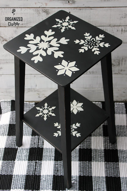 Stenciled Snowflake Table