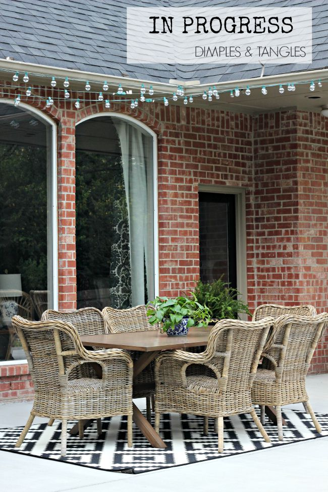 outdoor dining area, string lights, patio, outdoor space, Ikea Byholma chairs