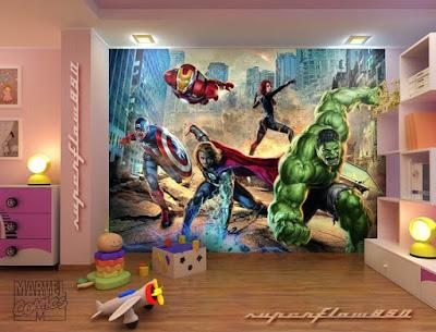 Pojktapet marvel hulk thor avengers ironman fondtapet 3d kille fototapet barnrum barntapet