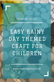 "Image from above with title text over the top saying ""Easy rainy day themed craft for children"""